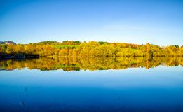 Reflection Of Autumn Trees On Lake Royalty Free Stock Photo