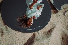 Free Reflection Of Happy Laughing Young Woman. Mirror Outdoor On Sand. Enjoyment, Happiness And Freedom Concept. Independent, Carefree Royalty Free Stock Image - 161522606