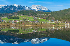 Free Reflection Of Mountain Village In Hallstatter See, Austria, Europe Stock Image - 56312941