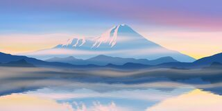 Free Reflection Of Mountains In The Lake. Fantasy On A Morning Landscape.Volcanoes Of Kamchatka Royalty Free Stock Photos - 214609348