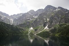 Free Reflection Of Tatra Mountain Peaks In Eye Of The Sea Lake. Eye Of The Sea Lake In Tatra Mountains, Poland. Polish Tatra Royalty Free Stock Photography - 109301807