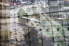 Free Reflection Of The City Of NYC On A Glass Building Stock Photography - 102538642