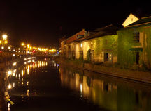 Free Reflection Of The Old Warehouse And The Lighted Up Street Lamp On Otaru Canal Royalty Free Stock Photo - 75752195
