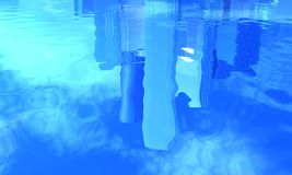 Reflection of office buildings in water royalty free stock image