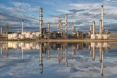Reflection of oil refinery factory Royalty Free Stock Image