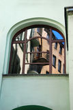 Reflection of old building in window in Lodz Royalty Free Stock Photos
