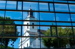 Reflection of old church Stock Photos