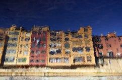 Reflection of old colorful, building facades. Stock Photos