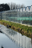 Reflection of old greenhouse in a small ditch Stock Photography