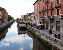 Italy, Milan: The big Naviglio. Reflection of the old houses in the water of  big Milan Naviglio Royalty Free Stock Image