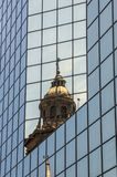 Reflection: Old & New. The Metropolitain Cathedral reflecting in a mordern building on the Plaza de Armas, Santiago de Chile Stock Photography