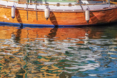 Reflection of an old sailing boat in the water Stock Photo