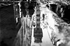 A reflection of Elevator de Santa Justa in Lisbon Stock Images