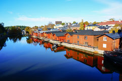 Reflection of old wood houses in river, Porvoo, Finland Royalty Free Stock Photos