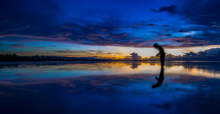 Reflection. Of one self during a beautiful sunrise Stock Photo