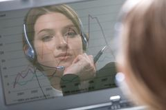 Reflection of operator Stock Photo