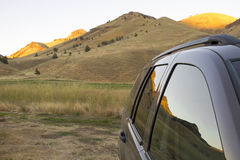 Reflection of Oregon High Desert on Car Windows. Reflection of Central High Desert Landscape on Sports Utility Vechicle Windows Stock Photography