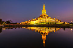 Reflection pagoda twilight. At esan thailand royalty free stock photos