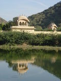Reflection of palace in lake. India - Rajasthan - Jaipur Royalty Free Stock Images