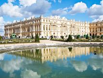 Reflection of Palace of Versailles. Reflection of Palace Chateau de Versailles on water, France, UNESCO , Europe stock images