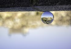 Reflection of panoramic of Toledo in crystal ball stock photo