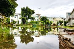 Reflection of park in rain water stock image