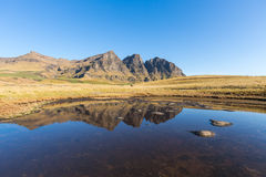 Reflection of the Peaks. Sehlabathebe NP, Lesotho stock images