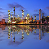 Reflection of petrochemical plant Stock Photos