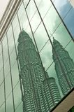 Reflection of Petronas towers Stock Images