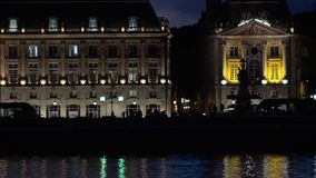 Reflection of place de la bourse and tramway in bordeaux a unesc. Reflection of place de la bourse and tramway in bordeaux france a unesco world heritage stock video