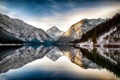 Reflection at Plansee (Plan Lake), Alps, Austria Stock Image
