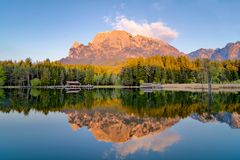 Reflection on the pond of fie, mountain in lake stock images