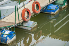 Reflection of a pontoon. Reflection of a ponton in a water Royalty Free Stock Images