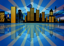 Reflection Portland Oregon Skyline Night vector illustration