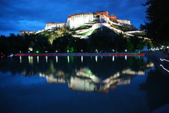 The reflection of the potala palace. Reflection on the back of the potala palace in the evening Royalty Free Stock Photography