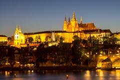 Prague castle and the Charles bridge at dusk. Reflection of Prague castle and the Charles bridge at dusk Royalty Free Stock Photo