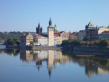 Reflection of prague city panorama in the calm river vltava Royalty Free Stock Images