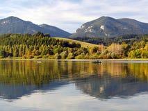 Reflection of Pravnac and Lomy hills, Slovakia stock photography