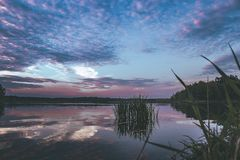 Purple sunset on the lake royalty free stock images