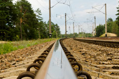 Reflection in a rail close up. Royalty Free Stock Photo