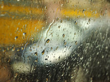 Reflection of rain on glass royalty free stock photo