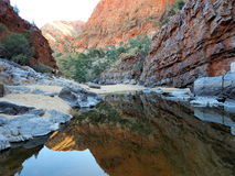 Reflection of Red glowing rocks at Ormiston Gorge Stock Photography