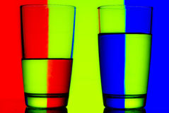 Reflection. Of red green blue on a cup of water Royalty Free Stock Photography