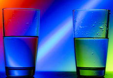 Reflection. Of red green blue on a cup of water Stock Photography