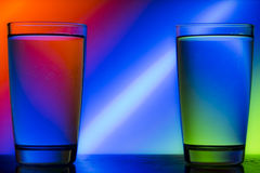 Reflection. Of red green blue on a cup of water Royalty Free Stock Image
