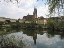 Reflection of Regensburg, Germany Stock Photos