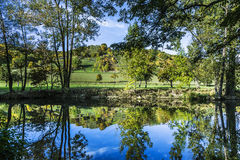 Reflection in the river Tauber in lovely Tauber valley Stock Image