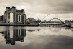 Reflection on the River Tyne Newcastle. Banks of the River Tyne Newcastle and Gateshead. Showing the bridges and Baltic royalty free stock photos