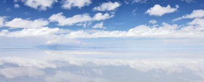 Reflection in the salt desert Royalty Free Stock Photography