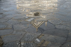 Reflection of Santa Croce, Florence. Reflection of the main facade of the Basilisa of Santa Croce in a series of pools in Florence, Italy. The piazza Santa Croce stock photography